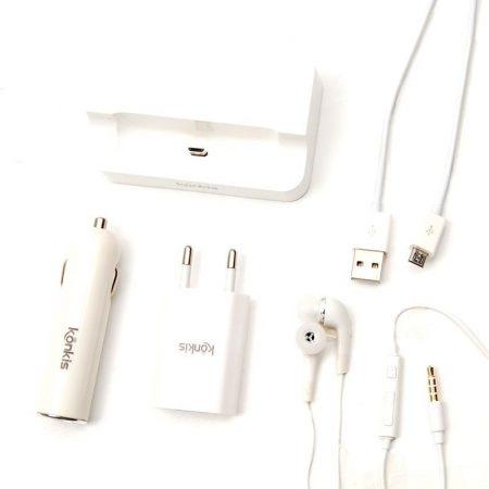 Vento Travel Kit 5 az 1-ben univerzális autós szivargyújtó töltő, adatkábel, fülhallgató, dokkoló, hálózati adapter, Micro USB, 1000mAh, fehér