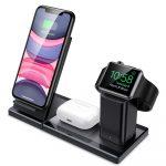 ESR 3in1 Qi Wireless Charger, Air Pods, Apple Watch és mobiltelefon vezeték nélküli töltő, fekete