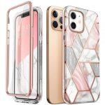 Supcase Cosmo iPhone 12/12 Pro hátlap, tok, márvány mintás, rózsaszín