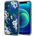 Spigen Cyrill Cecile iPhone 12 Mini kék virág mintás, hátlap, tok, átlátszó