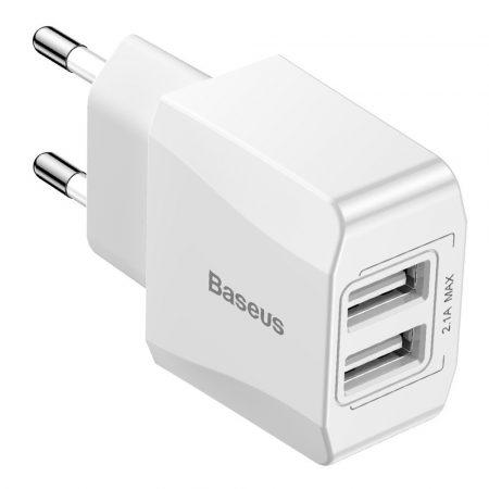 Baseus Mini Dual-U Travel Charger (CCALL-MN02) hálózati töltő adapter, 2xUSB, 2.1A, fehér