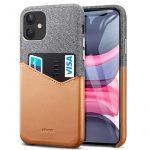 ESR iPhone 11 Metro Wallet hátlap tok, kártyatartóval, szürke-barna
