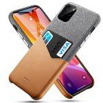 ESR iPhone 11 Pro Max Metro Wallet hátlap tok, kártyatartóval, szürke-barna
