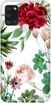 Casegadget Samsung Galaxy A71 5G piros virágok mintás, hátlap, tok, színes