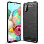 Carbon Case Flexible Samsung Galaxy A71 hátlap, tok, fekete