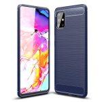 Carbon Case Flexible Samsung Galaxy A71 hátlap, tok, sötétkék