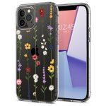 Spigen Cyrill Cecile Iphone 12/12 Pro mezei virágok mintás hátlap, tok, átlátszó