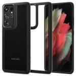 Spigen Ultra Hybrid Samsung Galaxy S21 Ultra hátlap, tok, matt, fekete