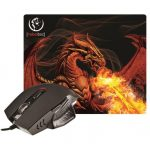 Rebeltec Red Dragon egér + egérpad, fekete-ezüst