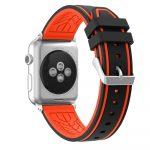 Apple Watch szilikon 44mm óraszíj, fekete-piros