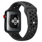 Apple Watch szilikon 44mm lélegző sport szíj, fekete