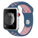 Apple Watch szilikon 40mm lélegző sport szíj, kék-rózsaszín