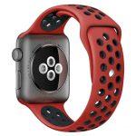 Apple Watch szilikon 44mm lélegző sport szíj, piros-fekete