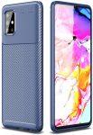 Carbon Fiber Samsung Galaxy A51 ütésálló hátlap, tok, sötétkék