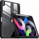 "Infiland Crystal Case iPad Air 4 10.9"" (2020) oldalra nyíló tok, fekete"
