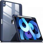 """Infiland Crystal Case iPad Air 4 10.9"""" (2020) oldalra nyíló tok, sötétkék"""