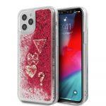 Guess iPhone 12/12 Pro Liquid Glitter Hearts hátlap, tok, piros