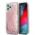 Guess iPhone 12/12 Pro 4G Liquid Glitter hátlap, tok, rozé-arany