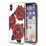 Guess iPhone X/Xs Flower Desire  Red Rose hátlap, tok, átlátszó-mintás