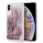 Karl Lagerfeld iPhone Xs Max (6.5) Liquid Stars Glitter hátlap, tok, rózsaszín