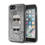 Karl Lagerfeld iPhone 7/8/SE (2020) Karl and Choupette Glitter hátlap, tok, ezüst