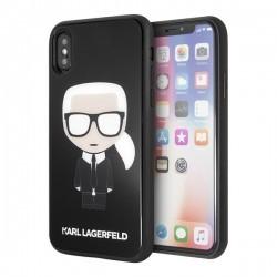 Karl Lagerfeld iPhone X/Xs Glitter Iconic Full Body hátlap, tok, fekete