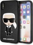 Karl Lagerfeld iPhone X/Xs Ikonik Karl hátlap, tok, fekete