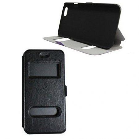 Iwill iPhone 6 dupla ablakos bőr flip tok, fekete