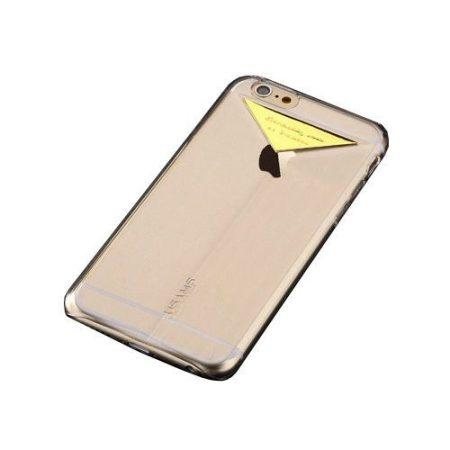 Apple iPhone 6/6S USAMS Dazzle műanyag hátlap, tok fém felirattal, arany