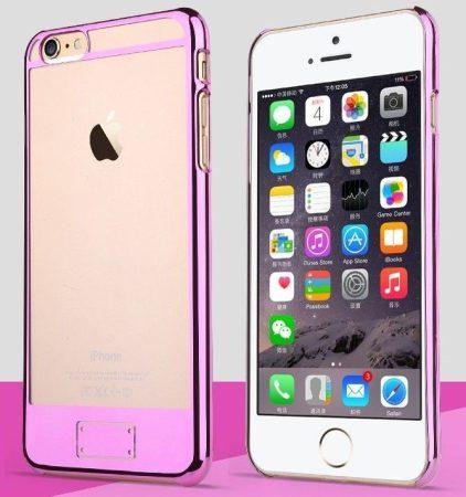 Apple iPhone 6, átlátszó műanyag hátlap ,tok, USAMS O-plating, rózsaszín