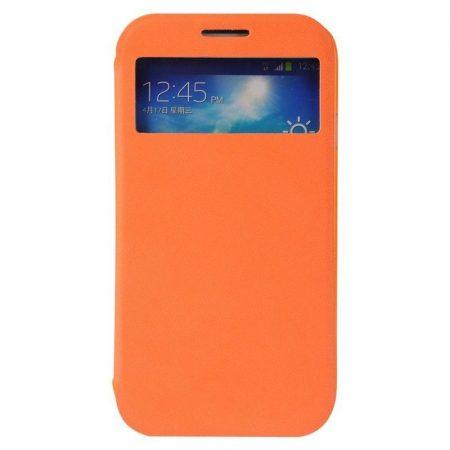 Baseus Folio Window Samsung Galaxy S4 I9500 oldalra nyíló tok, flip tok, narancs