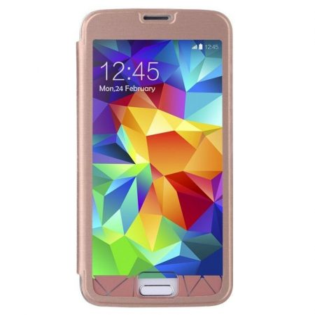 Baseus Coloured Glaze Samsung Galaxy S5 oldalra nyílótok, rózsaszín