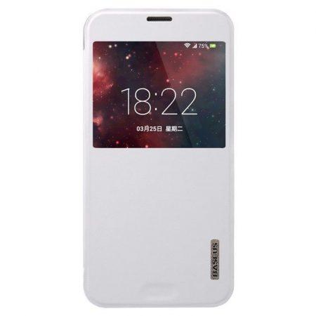 Baseus Primary Color Samsung Galaxy S5 oldalra nyíló tok, flip tok, fehér