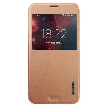 Baseus Primary Color Samsung Galaxy S5 oldalra nyíló tok, rozé arany