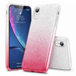 Forcell Glitter 3in1 case Huawei P40 LITE E hátlap, tok, ezüst-rózsaszín