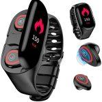 Smartwatch + TWS Bluetooth sztereó headset, Apple és Android kompatibilis, fekete
