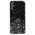Sequins Glue Glitter Case Samsung Galaxy S20 Ultra hátlap, tok, fekete