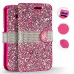 Zizo Full Diamond Samsung Galaxy S8 Plus oldalra nyíló tok, kártyatartóval, rózsaszín