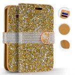 Zizo Full Diamond Samsung Galaxy S8 Plus oldalra nyíló tok, kártyatartóval, arany