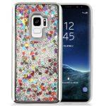 Zizo Liquid Glitter Star Case Samsung Galaxy S9, szív mintás, ezüst