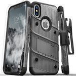 Zizo Bolt Cover iPhone Xs Max ütésálló hátlap, tok és full edge to edge edzett üvegfólia, metálszürke-fekete