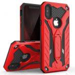 Zizo Static Hybrid iPhone Xs Max ütésálló hátlap, tok, kitámasztóval, piros-fekete
