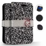 Zizo Full Diamond iPhone Xs Max oldalra nyíló tok, kártyatartóval, fekete