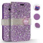 Zizo Full Diamond iPhone Xs Max oldalra nyíló tok, kártyatartóval, lila