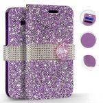 Zizo Full Diamond iPhone Xr oldalra nyíló tok, kártyatartóval, lila