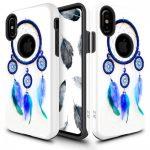 Zizo Sleek Hybrid Design iPhone X/Xs hátlap, tok, kék toll mintás, fehér-kék