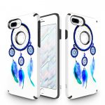 Zizo Sleek Hybrid Design iPhone 7 Plus/8 Plus hátlap, tok, kék toll mintás, fehér-kék