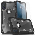 Zizo Proton Armor iPhone X/Xs hátlap, tok és 3D teljes kijelzős edzett üvegfólia, fekete-átlátszó