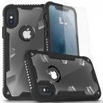 Zizo Proton 2.0 Heavy Duty Case iPhone X/Xs hátlap, tok és edzett üvegfólia, fekete-átlátszó